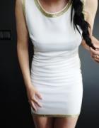 Biała sukienka chrzest chrzciny przyjęcie komunia złoto neopren neoprenowa piankowa XS S