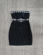 Sukienka tuba bodycon mała czarna kratka Cropp XS...