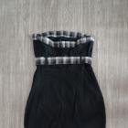 Sukienka tuba bodycon mała czarna kratka Cropp XS