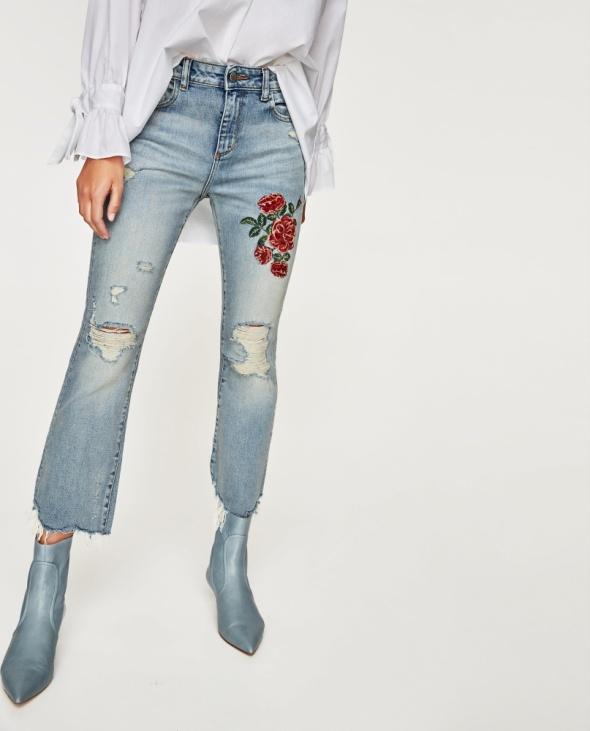 Spodnie Nowe spodnie jeansy z haftem Zara 38