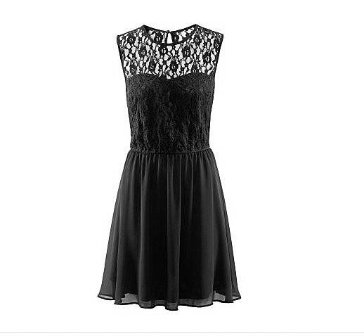 czarna koronkowa sukienka rozkloszowana 34 H&M