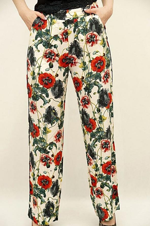 Letnie spodnie H&M maki kwiaty floral 38 hippie boho
