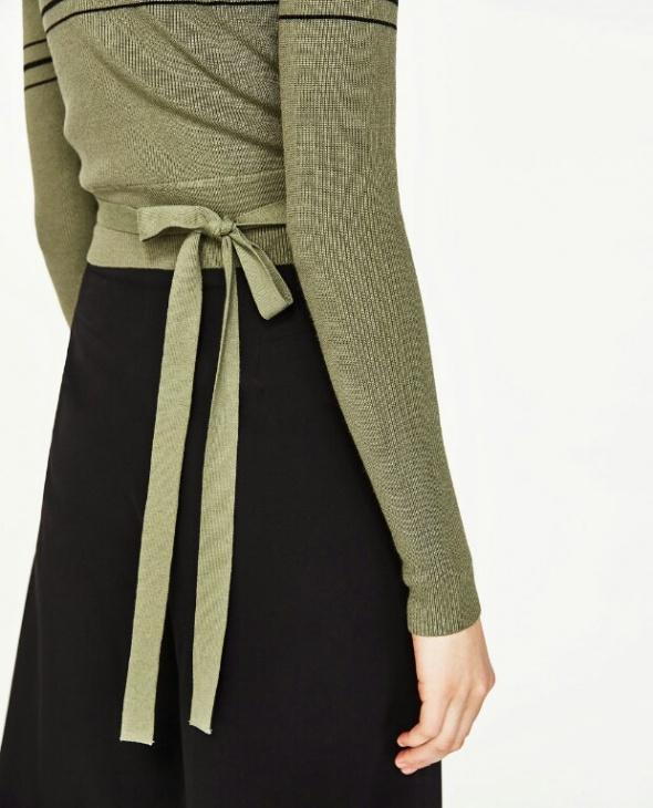 Zara oliwkowy sweter kokarda 36 S nowy...