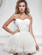 Lou ZOE śmietankowa gorsetowa sukienka XS Siwiec