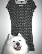 sukienka h&m wzór print graficzny 36 S rozkloszowa
