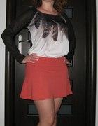 Pomarańczowa spódniczka mini 38 lekki klosz zip