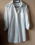biała długa koszula z kieszonką r S 36