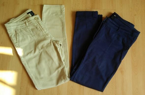 Spodnie zestaw 2x H&M jeansy beżowe granatowe 40 L rurki
