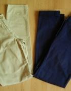 zestaw 2x H&M jeansy beżowe granatowe 40 L rurki