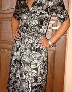 Czarnoszara satynowa sukienka Reserved S 36