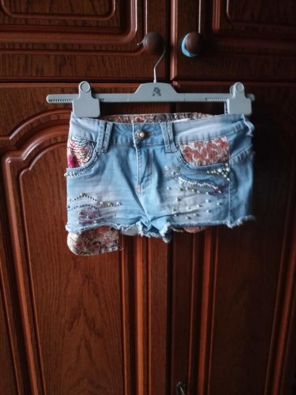 Spodenki jeansowe spodenki cyrkonie perly