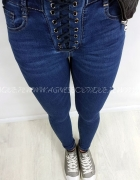 Super sznurowane jeansy rurki rozm M