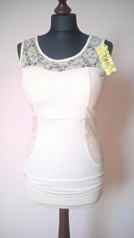 Suknie i sukienki sukienka 36 kremowa koronka nowa