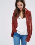 Bordowy kardigan sweter narzuta oversize 36