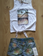 Bluzka bez rękawów wiązana na brzuchu i spodenki jeansowe 146 152