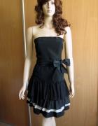 ZARA Basic czarna sukienka falbany 34