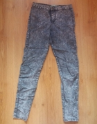 marmurkowe jeansy high waist 34 36...
