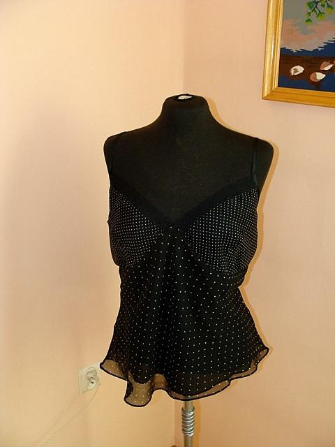 Nowa tania zwiewna lekka czarna bluzeczka kropki