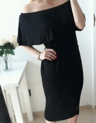 Boohoo sukienka czarna hiszpanka z falbanka XL