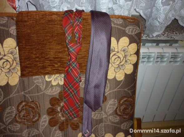 krawat fioletowy w kropki...