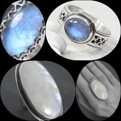 Duży srebrny pierścień z kamieniem Księżycowym