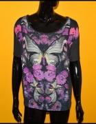 TU super bluzka szara odcień fioletu motyle 40 42