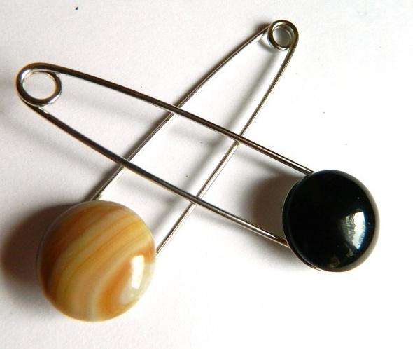 Broszki Broszka z agatem agrafka dwa kolory