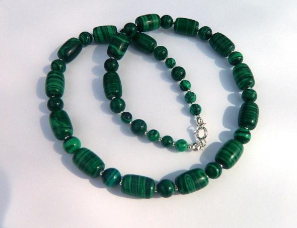 Naszyjniki Malachit zielony naszyjnik w srebrze