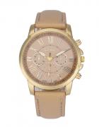 Zegarek damski Geneva beżowy złoty skórzany