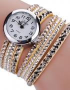 Zegarek kolorowa długa bransoletka z cyrkoniami