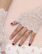 Rękawiczki Ślubne haft romby BIAŁE NOWE
