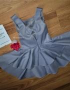 CUDNA nowa szara sukienka falbanki kokardka kolekcja exclusive