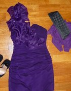 sukienka elegancka krótka na wesele XS S 34 36