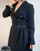 czarna elegancka suknia sukienka z guziczkami...