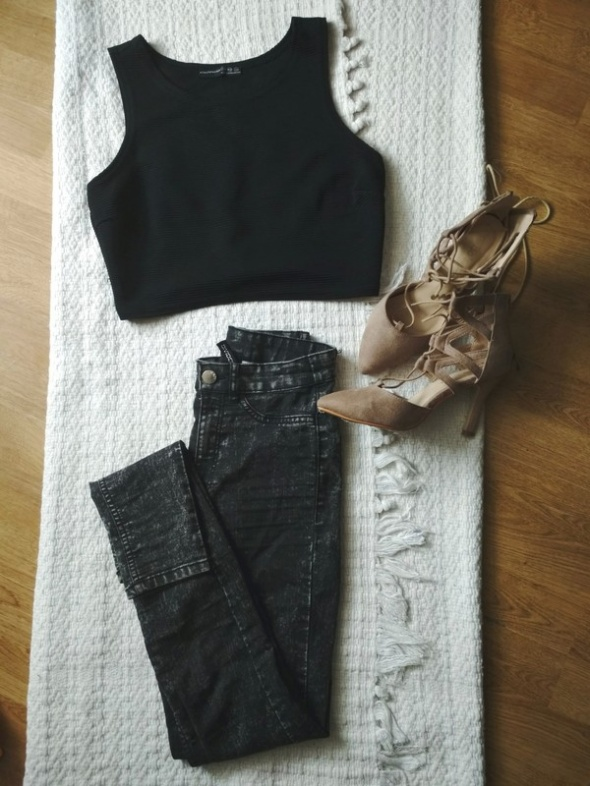 Spodnie Spodnie z wysokim stanem marmurki H&M 32