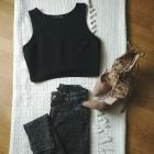 Spodnie z wysokim stanem marmurki H&M 32