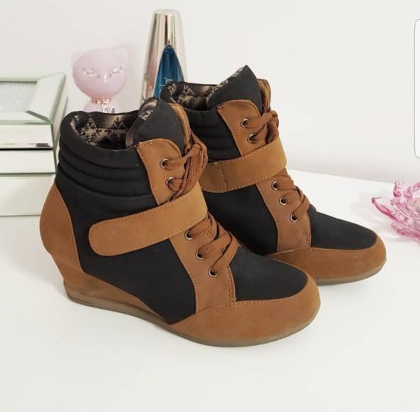 Sneakersy czarno brązowe...