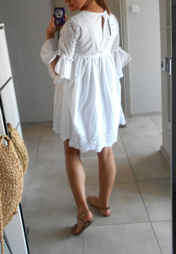 Zara nowa biała sukienka koronka gipiura oversize w Suknie i