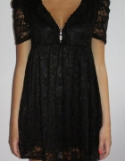 czarna sukienka koronka zloty zip