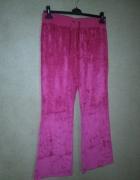 Spodnie dresowe welurowe różowe fuksja 42 44