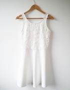 Biała koronkowa rozkloszowana sukienka NOWA z metką rozm L 40