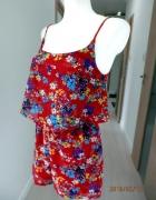 Kombinezon New Look Krótki Letni Zwiewny Hiszpanka Kwiaty Makowy Kolor S