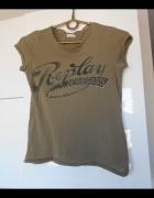 Replay khaki koszulka tshirt napis