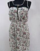 Zwiewna letnia sukienka kwiaty floral boho koronka print plażow...