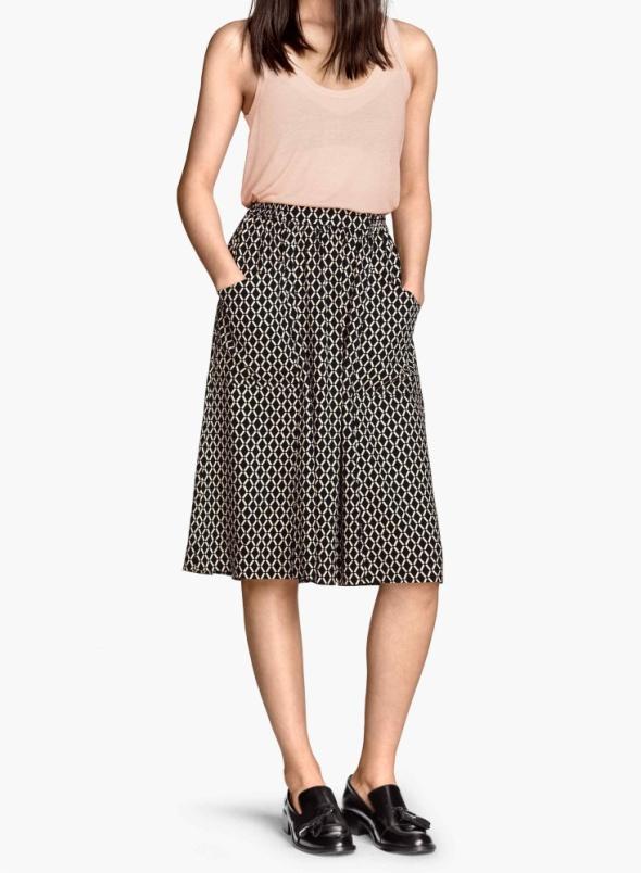 Spódnica H&M kieszenie midi wzory XS S