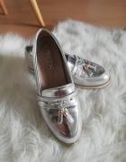 mokasyny srebrne lustro chwosty 37 38