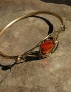 Mosiężna stara bransoleta z bursztynem...