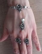 Stary srebrny komplet róże ze srebra