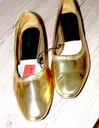 Zara baleriny mokasyny złote 38