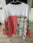 Zara print kwiaty oversize flower bluzka tshirt tshirt szerokie...